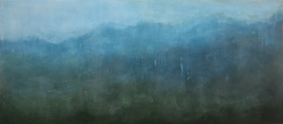 "Skyline, encaustic on board,  18"" x 41"""